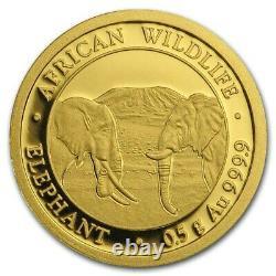 0.5 Gram 999.9 Fine Gold Bullion AFRICAN WILDLIFE ELEPHANT Coin 2020