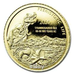 0.5 Gram 999.9 Fine Gold Bullion PREHISTORIC LIFE TYRANNOSAURUS REX Coin 2020