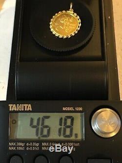 1/10 oz gold Panda Coin 1982 Set In 24k Gold Bezel Weight 4.618 Grams