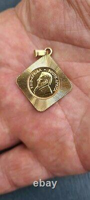 1/10th Ounce 22 Carat Gold Kruggerand Coin In 9ct Gold Mount 7.1 Grams