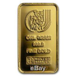 1 gram Gold Bar Holy Land Mint 70 years Israel (Argor-Heraeus) SKU#167449