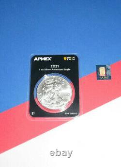 1 oz Silver American Eagle 2021 First Strike Coin +1 Gram Pamp C853070 Gold Bar