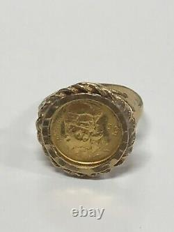 10k Yellow Gold Ring With 22k Gold Coin 4.0 Grams Size 7