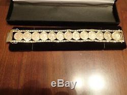 13-Dos y Medio Pesos 2 1/2 Peso Mexico 7.5 14kt Gold Coin Bracelet 55/56 grams
