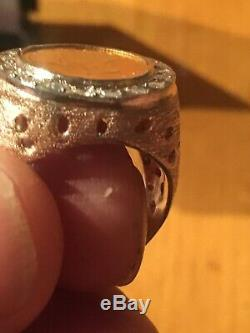 14 Karat Gold Mens Diamond Ring With 1874 Indian Head Coin. 13.2 Grams
