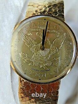 14 k Gold Lucien Piccard Coin Man's Watch 6.75 #49335 Switzerland 43.2 Grams