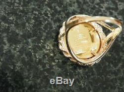 14K DIAMOMD GOLD RING With 1990 PANDA. 999 1/20 GOLD COIN RING SIZE 6- 5.5 GRAMS