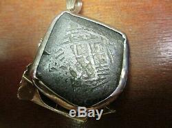14K Gold & Diamond Ship Pendant With 4 Reale Atocha Shipwreck Coin 37.2 Grams