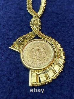 14K Gold necklace vintage coin Peso charm 21.7724 grams 17-18