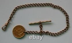 14K Solid Gold Pocket Watch Chain + 1897 $5 US gold coin Fob 23.89 grams 9.2