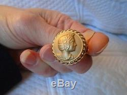14K YG Sz 7 Bold Cameo Coin Style Ring Italy Etruscan Lady Cable Edge 5.5 Grams