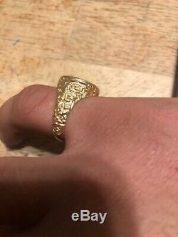 14K Yellow Gold 1945 Dos Peso Gold Coin Ring Size 9.5,8.3 Grams, Pinky Ring Nice