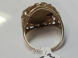 14K Yellow Gold Estados Unidos Mexicanos Coin Ring 5.3 Grams Size 6
