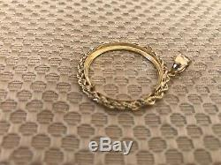 14K Yellow Gold Rope Chain Round Frame For 1/2 OZ Gold Coin 4 Grams