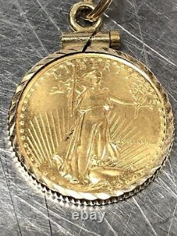14K Yellow Gold With 22k Gold Coin Charm Pendant 4.3 Grams (GS)