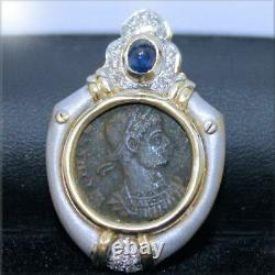 14K Yellow & White Gold Old Coin Pendant with Diamonds 7.0 grams 1100LAT