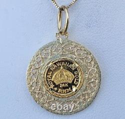 14k Gold Filigree Bezel Pendant 24kt Hawaiian Coin 2.5 Grams