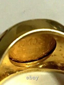 14k Mens Dos Pesos Coin 22k Gold 10.95 grams TW Engagement or pinky. Stellar