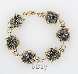 14k Solid Gold & 925 Sterling Spain Reales Cob Philip Coin 7 Bracelet 17 Grams
