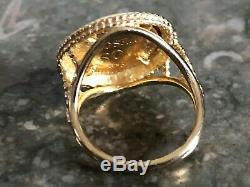 14k Solid Yellow Gold Ring with Mexican Dos Pesos Gold Coin Size 5.5, 6.5 Grams
