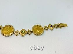 14k Yellow Gold Bracelet With 3 22k Gold US Coins & Sapphire, Amethyst, 29.5 grams