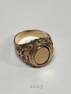 14k Yellow Gold Coin Style Ring 8.3 Grams Size 10