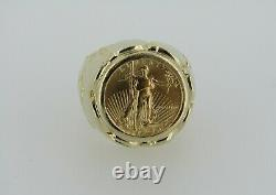 14k Yellow Gold Nugget Ring With 1988 $5 1/10oz 22k Gold Eagle Coin 17.71 Grams