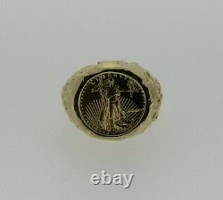 14k Yellow Gold Nugget Ring With 1991 $5 1/10oz Gold Eagle Coin 13.97 Grams