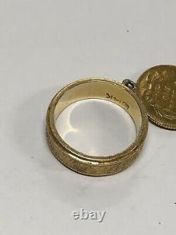 14k Yellow Gold Ring Band With Coin Charm 5.7 Grams Size 5 (GS)