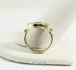 14k Yellow Gold Roman Coin Ring 6.6 Grams Approx Size 5.5 16 mm diameter FS