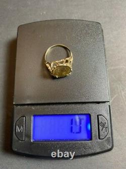 14kt Gold Ring With Coin! 1.9 Grams! Not Scrap! Size 4