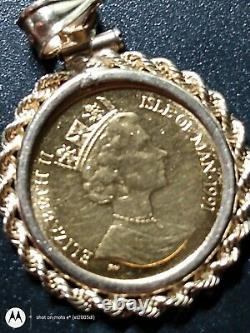14kt Solid Yellow 1991 Gold Isle Of Man Coin Pendant! 5.2 Grams