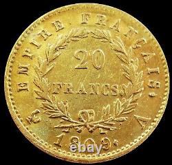 1809 A Gold France 20 Francs 6.4516 Grams Napoleon Coin Paris Mint