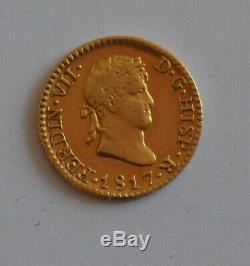 1817 SPAIN Fernando VII 1/2 Escudo Madrid Gold Coin 1.8 gram Ferdinand España