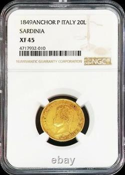 1849 Gold Sardinia Italy 6.4516 Grams 20 Lire Coin Ngc Extremely Fine 45