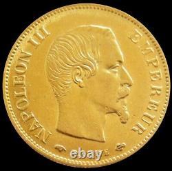 1860 A Gold France 10 Francs 3.225 Grams Napoleon III Coin Paris Mint Au / Unc