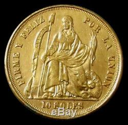1863 Gold Peru 16.129 Grams 10 Soles One Year Type Coin