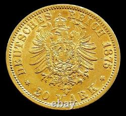 1875 J Gold Hamburg Germany 20 Mark 7.965 Grams Coin