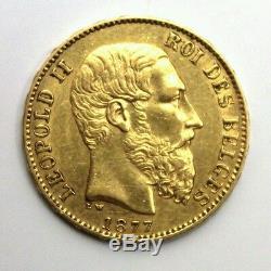 1877 BELGIUM Gold Coin Leopold II 20 FR Francs Position A 6.45 grams Finer Beard