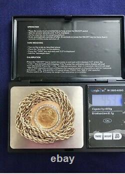 1881 Five Dollar GOLD coin 14K diamond necklace 1.6 ounces or 45+ grams
