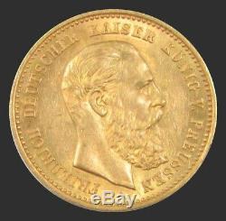 1888 A Gold 3.982 Gram German States Prussia 10 Mark Friedrich III Coin