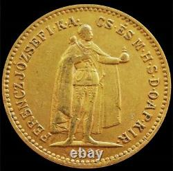 1894 Kb Gold Hungary 10 Korona 3.3875 Grams Emperor Franz Joseph Coin Xf