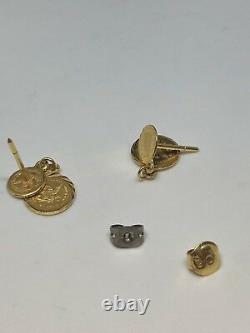 18K Yellow Gold Earrings Drop Down Dangle Coin Earrings 2.6 Grams