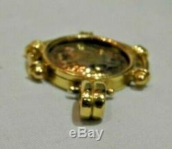 18K Yellow Gold Roman Coin Pendant Heavy 10.2 Grams
