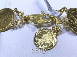 18k Solid Yellow Gold Round Coin Link Bracelet 7 Inches. Wt 12.63 Grams