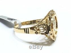 18k Yellow Gold Diamond Cut Coin Band Ring Size 6.5. Wt 3.57 Grams