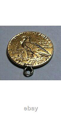 1908 $5 Gold Indian Head Half Eagle Coin, with soldered ring, 8.4 grams