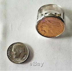 1910 US Gold Half Eagle $5 Five Dollar Indian Head Coin 14K Ring 34.8 Grams