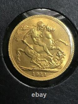 1911 British Gold Sovereign Brilliant Uncirculated 8.01 Grams Lustrous Coin