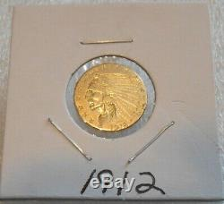 1912 Gold Indian Head $2.50 Quarter Eagle Nice Gold Jewelry Coin 4.18 Gram